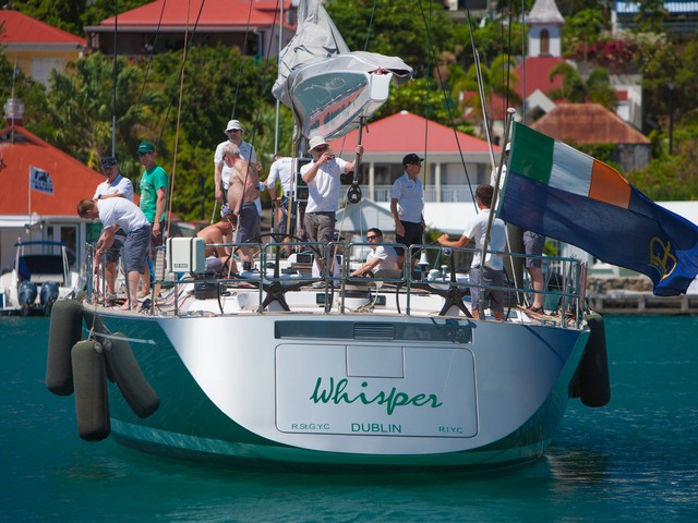 Whisper heads out to practice for Les Voiles de Saint Barth © Christophe Jouany / Les Voiles de St. Barth